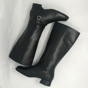 Black Leather Riding Boots Buckle Mid Calf 6.5